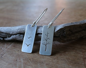 journey and destination earrings, sterling silver