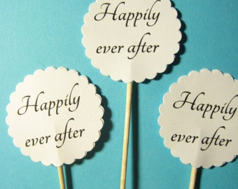 12 Happily Ever After Party Picks - Cupcake Toppers - Toothpicks - Food Picks - die cut punch FP207