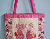 Quilted Bag, Summer Tote Handbags, Madame Sue Pink Bag, Cotton Fabric Handbag, Applique Tote Bag, Beach Bag