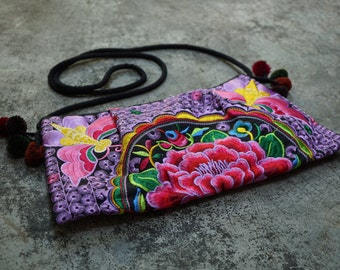 Sling Thai Crossbody Bag Hmong Purse Thailand Bag Ethnic Embroidered Hippie Boho