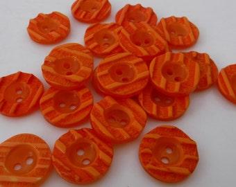 "12 Orange Tangerine Stripe Small Round Buttons Size 1/2"""