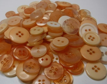 Peach Buttons, 100 Bulk Assorted Round Multi Size Crafting Sewing Buttons