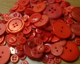 Red Buttons, 100 Bulk Assorted Round Multi Size Crafting Sewing Buttons