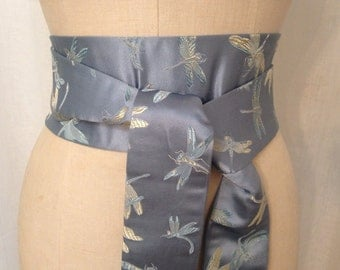 Blue Dragonfly Brocade Obi Sash
