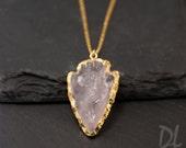 Arrowhead Necklace - Rose Quartz Crystal Arrowhead Necklace - Layering Necklace - Bohemian Necklace - Boho Hippie Chic Necklace