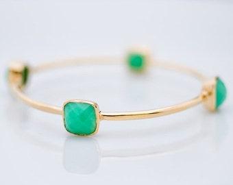 40 OFF - Bangle - Chrysoprase Bracelet - Gemstone Bangles - Bezel Set Bangles - Gold Bracelets