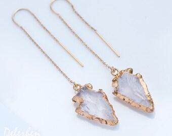 Clear Arrowhead Earrings - Gold Ear Thread Earrings - Ear Threader Earrings - Minimal Jewelry - Long Gold Dangle Earring - Tribal Jewelry