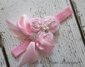 Pink Headband, Pink Flower Headband, Rosette Girls Headband, Vintage Girls Head Band, 1st Birthday, Baby Headband, Head band, Baby, Kids