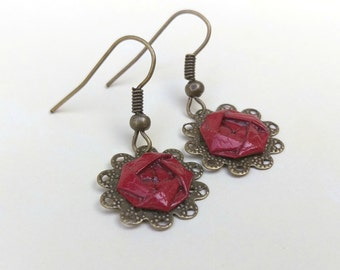 Red Camellia Lace Earrings