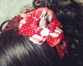 Dr Who Fascinator Headband Dr Who gifts Geek fascinator Weeping Angels Pinup hair accessories Burlesque Rockabilly fascinator Tardis Fez
