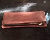 Copper Metalic Leather Clutch