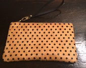 Yellow with black polka dots Pouch 5x8 inches (Cow hair)