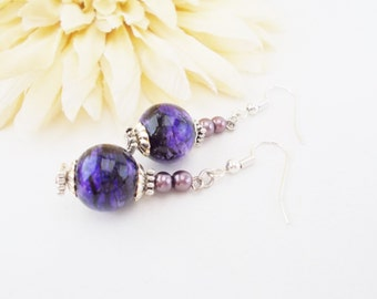Dark Purple Drop Earrings, Purple Pearl Earrings, Purple and Black Earrings, Gothic Purple Earrings, Clip On Beaded Earrings, Dangle Earring