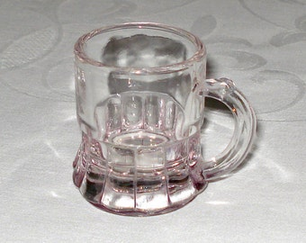 Vintage Amethyst Glass Shot Glass shaped like a Beer Mug