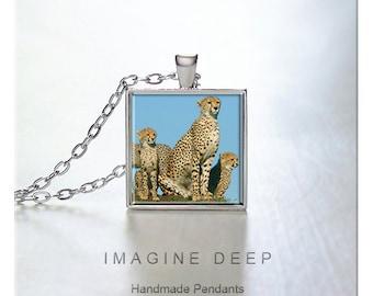 BUY 2 GET 1 FREE Cheetah Pendant Necklace Nature Art Photo Print High Quality Handmade Silver Copper Pendant Square - Cheetah Mom (0034)