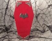 Red Coffin Black Bat Silver Filigree Wood Coffin Jewelry Trinket Home Decor Desk Organizer Box