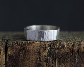 Square Hammered Sterling Silver Band, 6mm Wide Band, Textured Silver Band, Eco Friendly Silver Band, Stacking Silver Ring, Ready to Ship