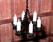 Wrought Iron Chandelier, Medieval Dollhouse Miniature 1/12 Scale, Hand Made