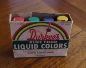 Durkee's Pure Food Liquid Colors, Heavy Glass Bottles, Metal Caps with Colors Identified, Original Packaging