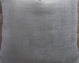 Designer Pillow Cover Lumbar, 16  x16, 18 x 18, 20 x 20, 22 x 22, 24 x 24 - Blue Gray Herringbone Zig Zag Chenille