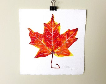 Leaf No. 3.  A signed original autumn nature watercolor painting.