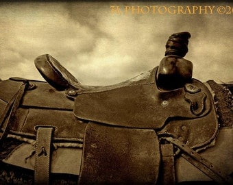 Cowboy Saddle Fine Art Photography Print Leather Rustic Rodeo Western Texas Art