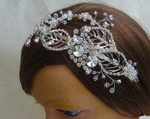 Side Tiara: Organic crystal design inspired by Jenny Pakham 2016 range with silver leaves, rhinestones and crystals for bridal or prom