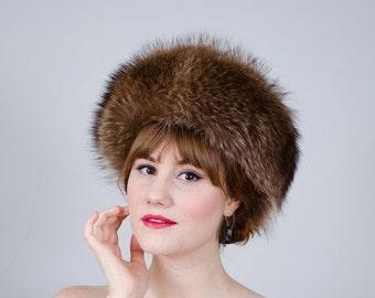 25% OFF SALE / 1960s vintage hat / raccoon fur hat / Jean Guy