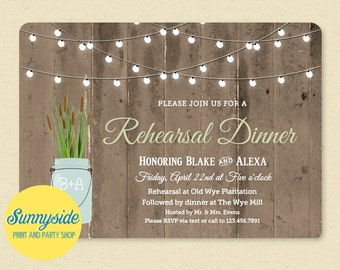Cattails Rehearsal Dinner Invitation, Rustic Mason Jar Rehearsal Invite, Barnwood Lights, Printable