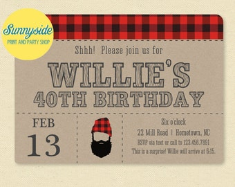 Printable Beard Birthday Invitation - Manly Surprise Hipster Party Invite 30th 40th 50th