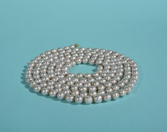 Miriam Haskell Baroque Pearl Necklace - Opera Length 60 Inches 8mm - Vintage Designer