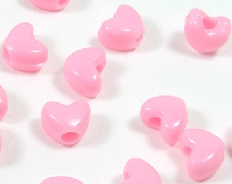 DISCONTINUED Pink Heart Pony Beads, 10x12mm, 100 beads