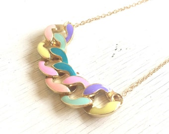 SALE - Multi Color Chain Statement Necklace in Gold.  Statement Necklace. Modern Jewelry.  Mint Statement Jewelry.  Modern. Gift.