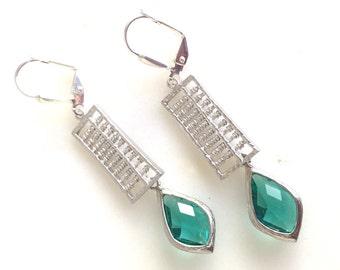 Emerald Green Jewel Dangle Earrings in Silver. Emerald Drop Earrings. Drop. Fashion Earrings. Gift.