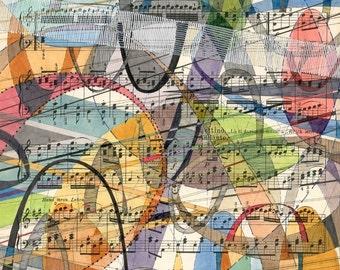 Arietta Andante: original artwork on vintage sheet music multicolor geometric shapes and arches