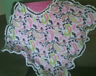 Paisley Minky and Crochet Baby Blanket  (Ready To Ship)