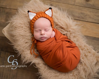 Baby Fox Bonnet, Woodland Baby, Enchanted Forest, Fox Hat, Newborn Photo Prop, Woodland Animal Hat, Baby Hat, Diaper Cover