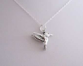 3D HUMMINGBIRD sterling silver charm with necklace chain, organic, nature, woodland jewelry