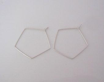 PENTAGON sterling silver, yellow or rose gold filled wire hoop earrings, modern, geometric earrings