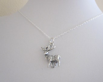 3D Elk Deer animal sterling silver charm with chain, woodland jewelry