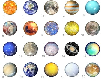 Planets Earth Saturn Mars Milky Way SciencePinback Button Flatback Button Badge or Magnet 1 inch set of 10