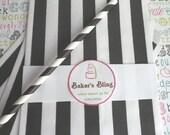 XOXO SALE 250 Black and White Stripe Party Bags, Black Stripe Wedding Candy Bars, Black Stripe Favor Bags, Popcorn Bags, Black Stripe Candy