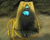Animal Totem Medicine Bag , Bear Totem Medicine Bag , Leather Bag With Bear Fur , Bear Leather Bag , Bear Fetish , Magnesite Bear , Handmade