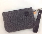 Small Charcoal Gray Stripe Wristlet with Button Made from Recycled Wool Sweater
