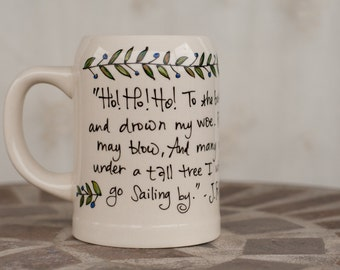 "J.R.R. Tolkien ""To the bottle I go"" Hand painted LOTR quote mug - Very large, cream tankard mug with vines and leaves"