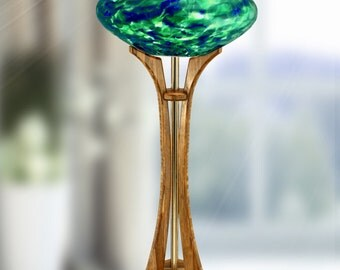 Seattle Space Needle Lamp - GoHawks! Globe Color - Carmel Bamboo Base