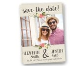 Burlap Save the Date Card, Rustic Save the Date, Floral Save the Date Card
