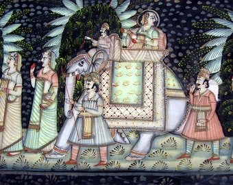 Vintage Bohemian Framed Oil Painting Rajasthani Wedding Tropical India Marriage Ceremony Ethnic Folk Art Large Framed Black velvet 5 ft long