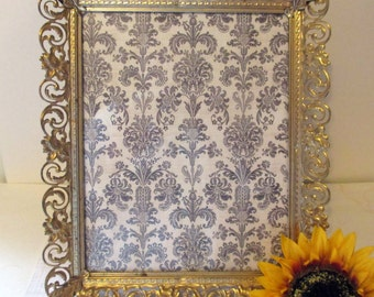 Vintage Brass Filigree Picture Frame Hollywood Regency