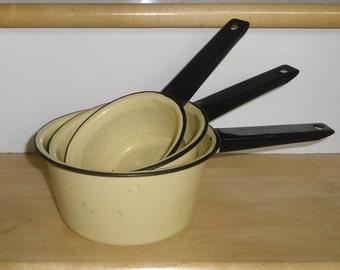 Vintage Cookware - 3 Enamel Pots, Handled Pots, Enamelware Saucepans, Butter Yellow and Black, Kitchen Decor, Farmhouse Decor, Cottage Decor